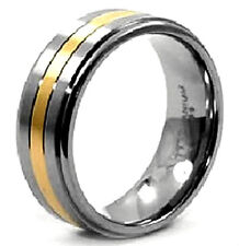 Men's TITANIUM RING with 1.5mm Gold Accented Band, in Size 12, in Gift Box