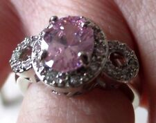 Superbe bague argent 925 solitaire zircon rose cristaux diamant Taille 53 p