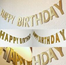 HAPPY BIRTHDAY BANNER BUNTING WITH GOLD OR SILVER GLITTER LETTERS PARTY