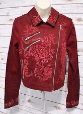 NWT GUESS Women's Medium Embellished Rhinestone Motorcycle Jacket MSRP $178