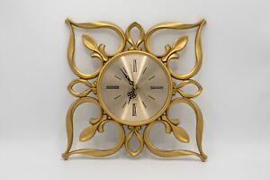 Vintage Working Mid-Century Cordless Electric Sunbeam Clock BW-V - Gold