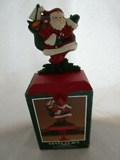 Vintage Midwest Cannon Falls Christmas Stocking Holder Cast Iron Santa With Box