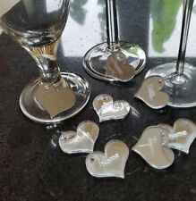 PERSONALISED ENGRAVED HEART NAME WINE GLASS CHARMS CHRISTMAS TABLE DECORATION