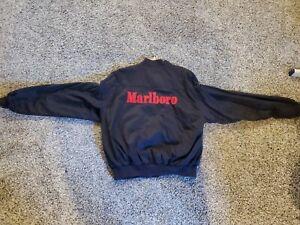 Vintage 90s Marlboro Reversible Black Red Spellout Full Zip Bomber Jacket L
