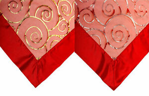 """Festive Christmas Red Voile Table Topper Gold Silver Swirl Home Linen 36"""" x 36"""""""