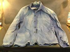 Ancienne veste bleu de travail en moleskine made in France SOLIDA vetement usine