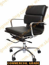 SKDL Replica BLACK Eames Low Back Soft Pad Top Leather Office Chair SK1606