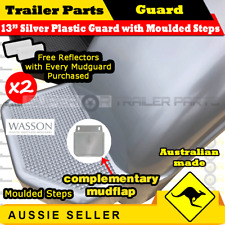 "Silver plastic trailer mudguard with mudflat suits 13""inch wheel Aus Made - 2pcs"