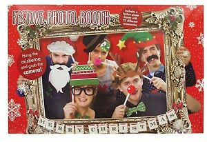Photo Booth Props WIth Frame Christmas Theme Festive Holiday Party Fun