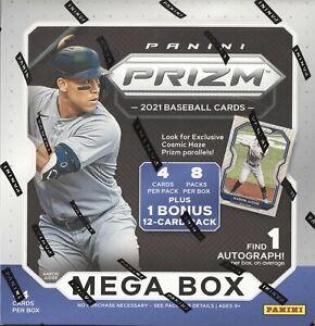 2021 PANINI PRIZM BASEBALL CARDS FACTORY SEALED 8 PACK MEGA BOX MLB 1 AUTO