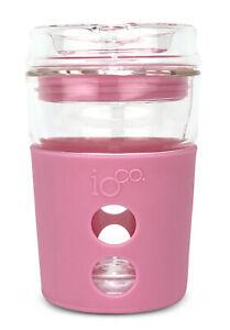 IOco 8oz Coffee & Tea eco cup & reusable Glass lid mug barista tick -Dusty Rose