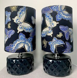 Pair Of Butterfly Bedside /Table Lamps/Blue Ceramic Bases/Handmade  Shades