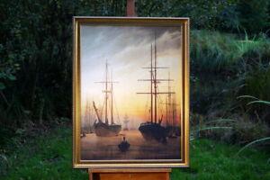 Caspar David Friedrich Leinwandbild im Prunkrahmen 90 x 70 Ansicht eines Hafens