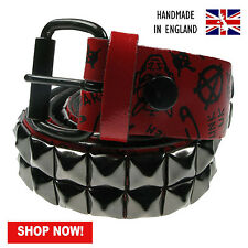"""38mm Red Pyramid Studded Printed Real Leather Belt Made In UK Sizes 28""""-44"""""""