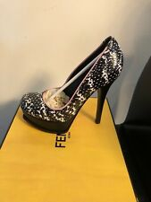 NEW FENDI BLACK WHITE PINK  PUMP PLATFORM HEELS  SHOES SIZE 8.5 DUST BAG 38.5