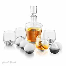 Final Touch On The Rock Glasses WHISKEY DECANTER 10 Piece SET Ice Balls GS400