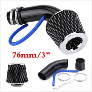 Black 3in Car Aluminum Alloy Air Intake Kit Pipe +Cold Air Intake Filter+Clamp