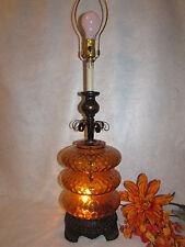 "E K HOLLYWOOD REGENCY 1972 AMBER GLASS GLOBE TABLE LAMP  32"" TALL 3 WAY LIGHT"