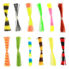 12 Bundles 50 Strands Silicone Skirts Fishing Rubber Jig Lure Mixed Color ZH