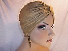"""Chemo Turban Muted Gold Stretch Hijab  """"Something4you"""" Hat Hairloss Alopecia"""