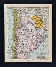 1900 McNally Map - Argentina Uruguay Paraguay Buenos Aires Chile - South America