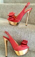 Carvela Size 3 Shoes Women's Orange Rose Gold Leather Inside Heels & Platform