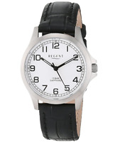 Regent Women's Titanium 31mm Analog Watch with Black Leather Strap - 12090310