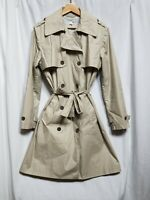 Garnet Hill Women's Classic Tan Trench Coat, Fully Lined, Size Small