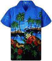 Funky Hawaiihemd Delfin XS-12XL Dolphin Hawaiianshirt Fronttasche helles Blau