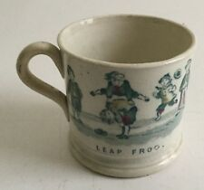 Antique Staffordshire Leap Frog / Peg - Top Child's Mug early 19th c