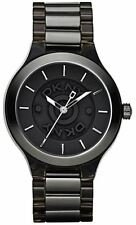 New DKNY Black Two Tone Acrylic Steel Band Women Dress Watch 45mm NY8169 $135