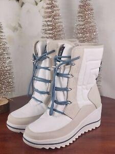 Khombu - Waterproof Lace-Up Wedge Winter Boots - Whitecap - White