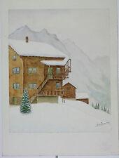 Aquarelle Grachen Valais Suisse Henri Gommers 1988 Montagne
