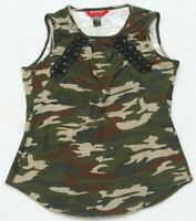 Hot Kiss Camouflage Sleeveless Tank Top Tee T-Shirt Woman's Poly Spandex Large