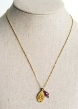 """Satya Ganesha And Ruby In Sterling Silver Vermeil Bezel 18"""" Gold Tone Necklace"""