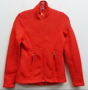 SPYDER Size XS Red Stryke Cable Knit Cableknit Fleece Lined Gold Zip Up Jacket