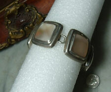 Art Deco Vintage Sterling Silver Very Heavy Mother of Pearl Mexican Bracelet