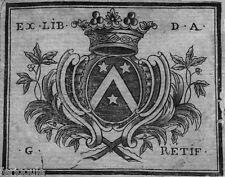 EX-LIBRIS d'Abraham-Gabriel RÉTIF. Dauphiné.