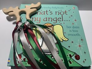 Thats Not My Angel Book And Reindeer Sensory Ribbon Bundle Set Gift New Baby