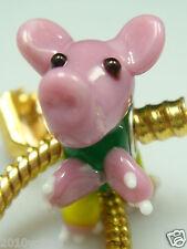 1pcs SILVER MURANO GLASS BEAD LAMPWORK Animal fit European Charm Bracelet EWn36