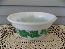 "Vintage Hazel Atlas Milk Glass Small Mixing Bowl with Green Ivy Design 7"" Inch"