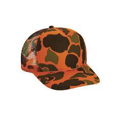 Wholesale Lot 1 Dozen Hunter Orange Camo Trucker Hats Hat Cap Caps Adjustable