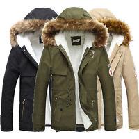 Messieurs solides Parka d'hiver capuche veste FAUSSE FOURRURE MANTEAU XS-2XL