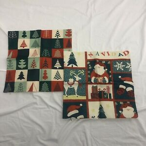Christmas Tree Throw Pillow Covers 2 Red Green Cases Santa Reindeer Xmas 18 x18