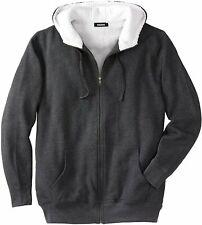 KingSize Men's Big & Tall Sherpa-Lined Fleece Zip Hoodie Fleece Jacket