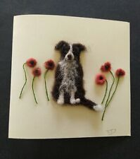 Handmade needle felted greetings card/Art  'Gwen in the Poppies' byTracey Dunn