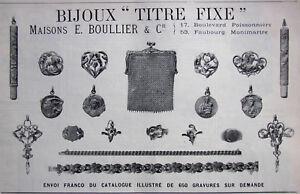 PUBLICITÉ DE PRESSE 1906 BIJOUX MÉDAILLES TITRE FIXE MAISONS E.BOULLIER & C°