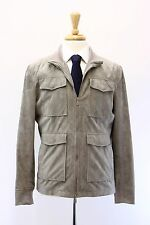 NWT $5545 Brunello Cucinelli Men's 100% Leather Suede Logo Safari Jacket M  A176