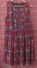 LADAKH Size 12 Maroon and Brown Floral Sleeveless Dress, Lined, Full Skirt