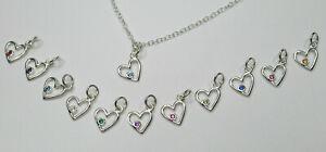 CZ Birthstone Heart Ankle Bracelet Anklet - 925 Sterling Silver - Choose Month
